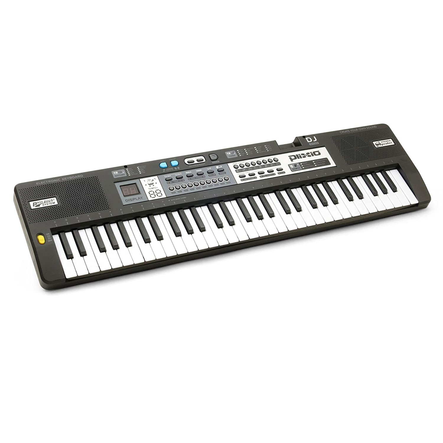 Plixio 61 Key Mid-Size Electric Piano Keyboard with Electronic Music Lesson Mode & Adapter 4334320081