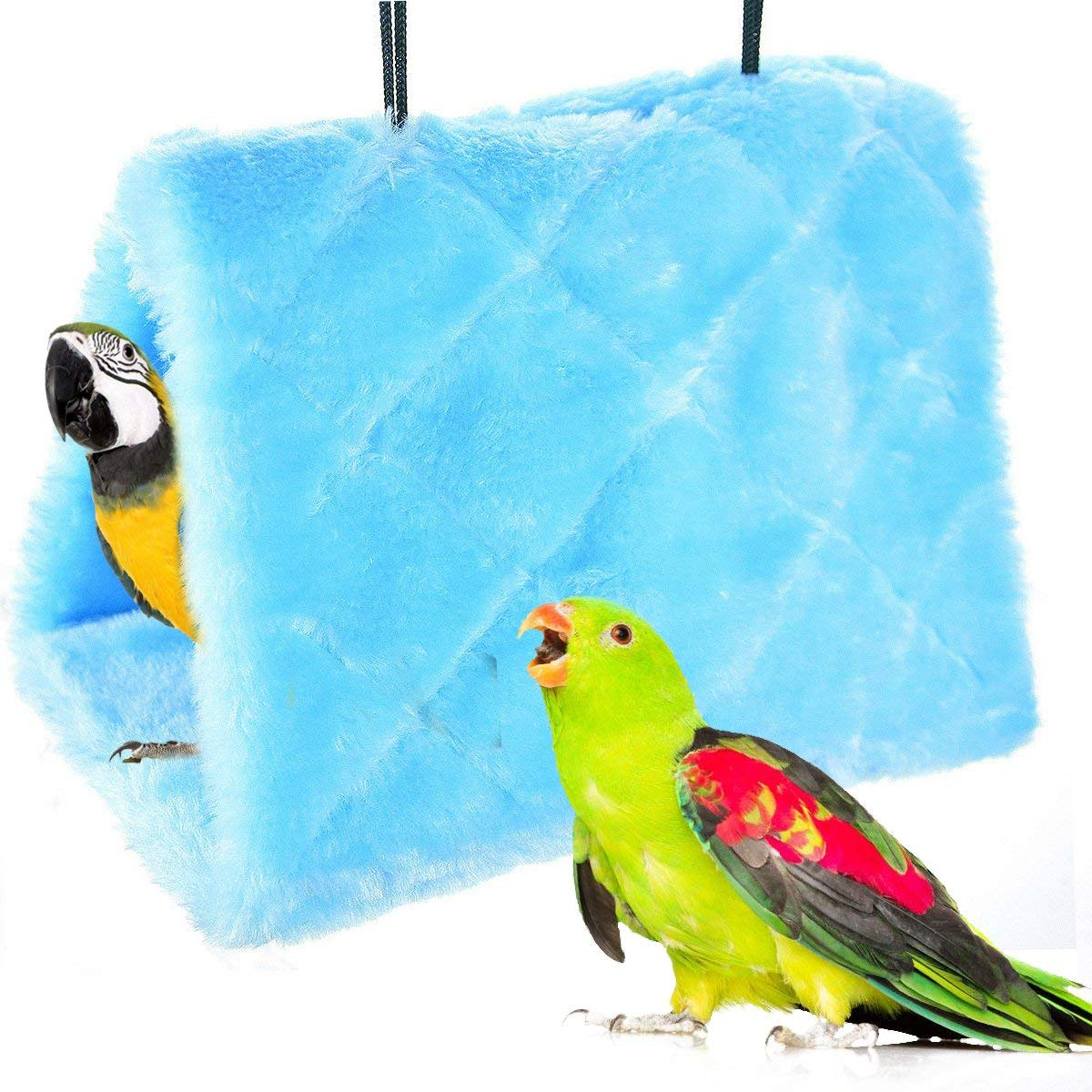 Winter Warm Bird Nest House Shed Hut Hanging Hammock Finch Cage Plush Fluffy Birds Hut Hideaway for Hamster Parrot Macaw Budgies Eclectus Parakeet Cockatiels Cockatoo Lovebird (M, Blue)