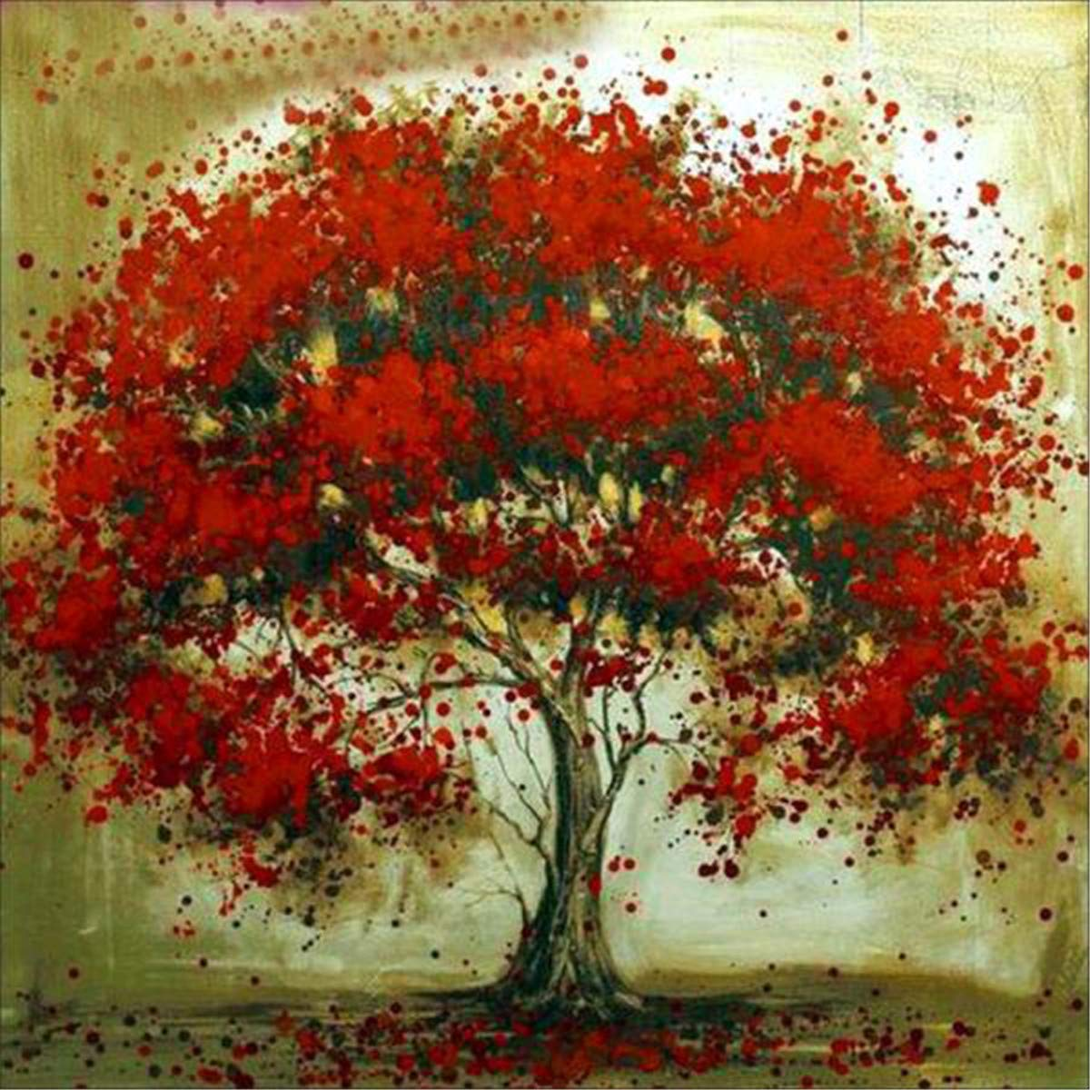 DIY 5D Diamond Painting by Number Kits, Full Drill Crystal Rhinestone Paint with Diamonds Embroidery Pictures Arts Craft for Home Wall Decor - Red Tree 12 x 12 Inch