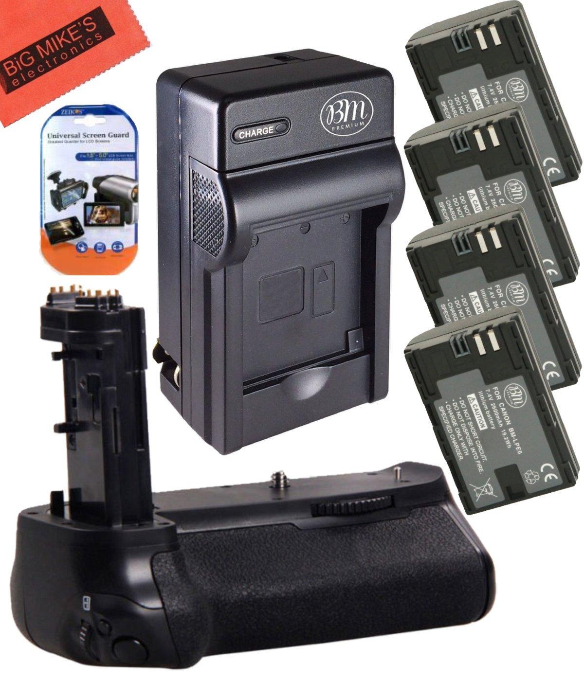 Battery Grip Kit for Canon EOS 7D Mark II Digital SLR Camera Includes Qty 4 BM Premium LP-E6, LP-E6N Batteries + Battery Charger + Replacement BG-E16 Battery Grip