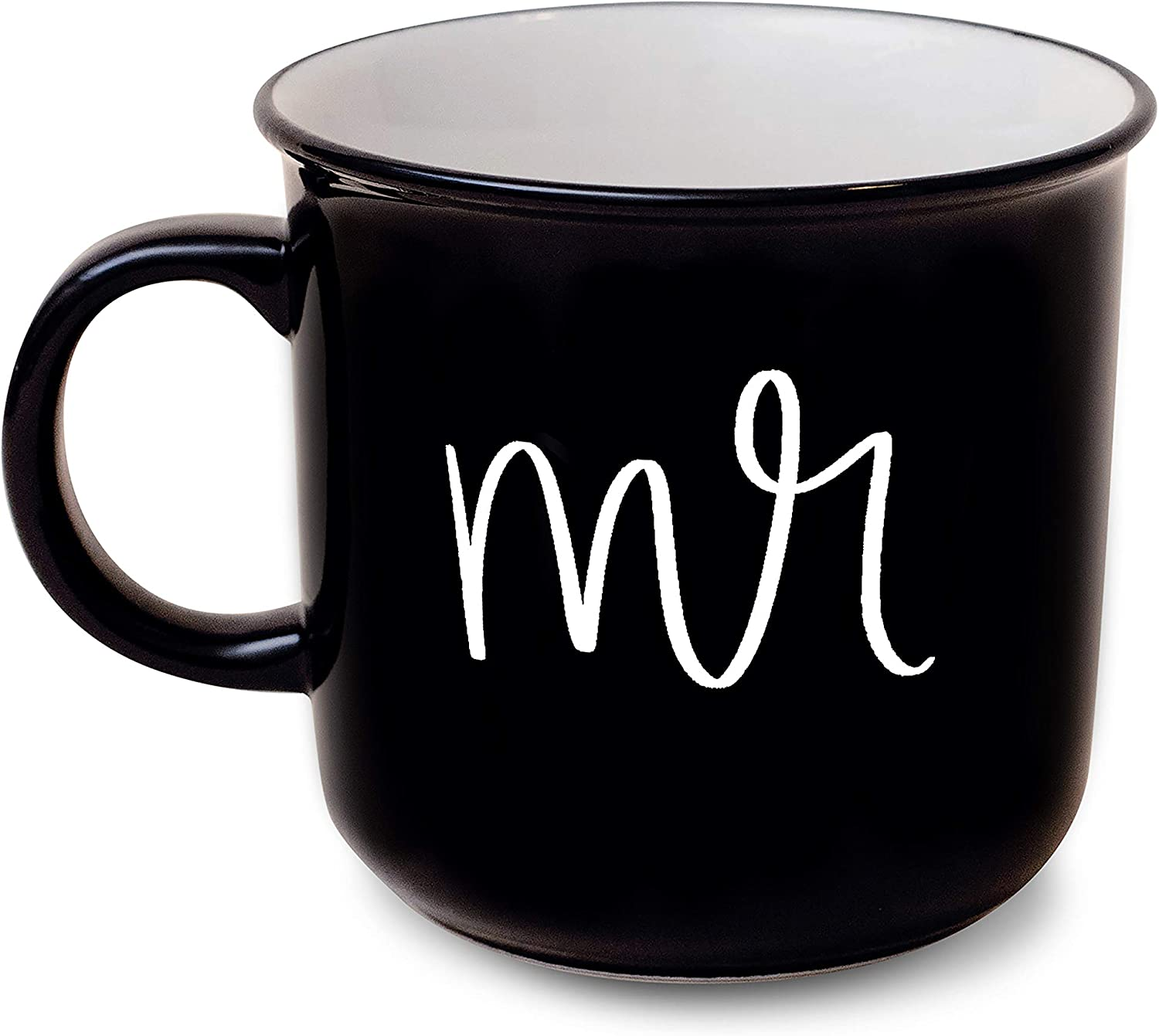 Sweet Water Decor Cute Coffee His and Her Mugs for Married Couples | 14oz Campfire Style Mug for Brides & Grooms | Great for Weddings, Engagements, Bridal Showers (Mr.)
