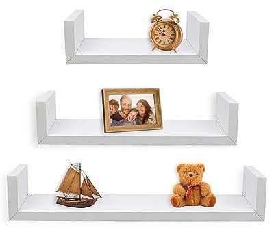 Greenco Set of 3 Floating U Shelves