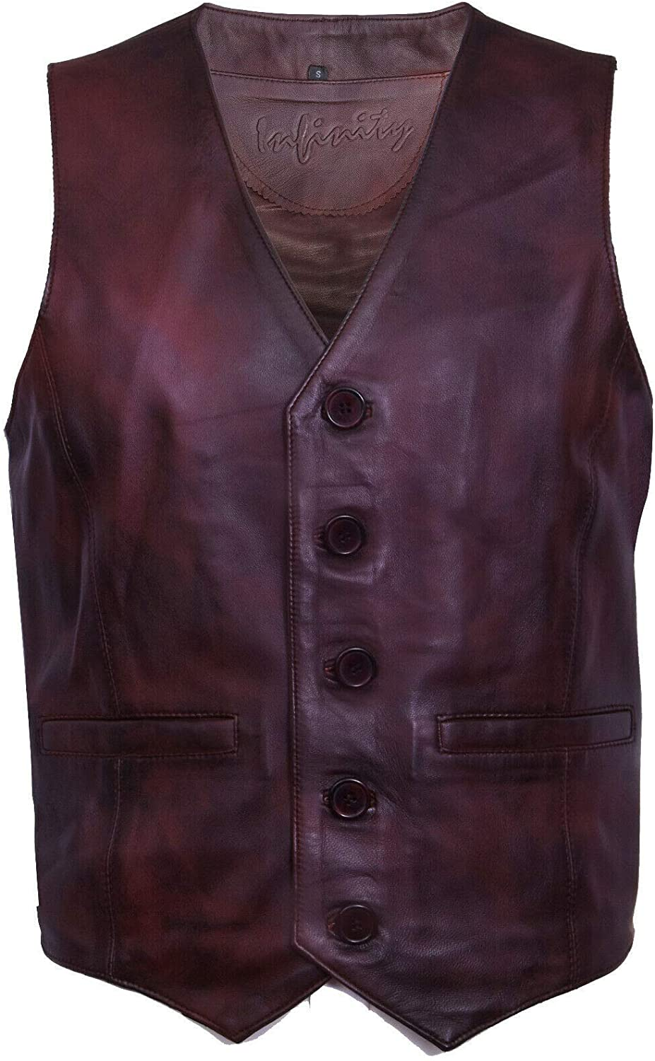 Mens Classic Smart Soft Leather Waistcoat