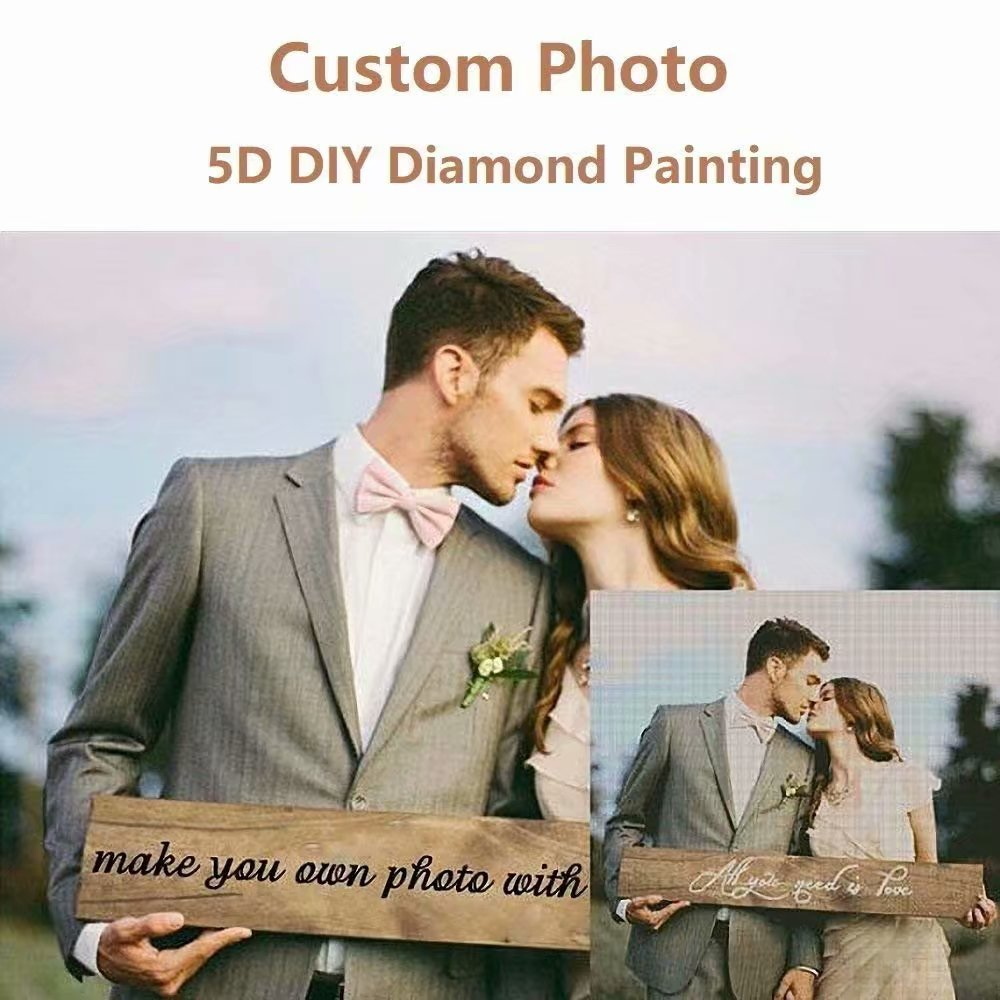 Personalized Custom Photo Diamond Painting 5D DIY Diamond Painting, Full Drill Diamond Embroidery Kit Home Wall Decor