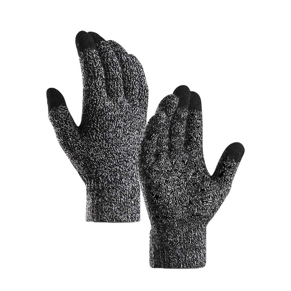 Glumes Winter Gloves for Men and Women - Knit Touch Screen Anti-Slip Silicone Gel - Elastic Cuff - Thermal Soft Wool Lining - Stretchy Material Cycling Hiking Outdoor