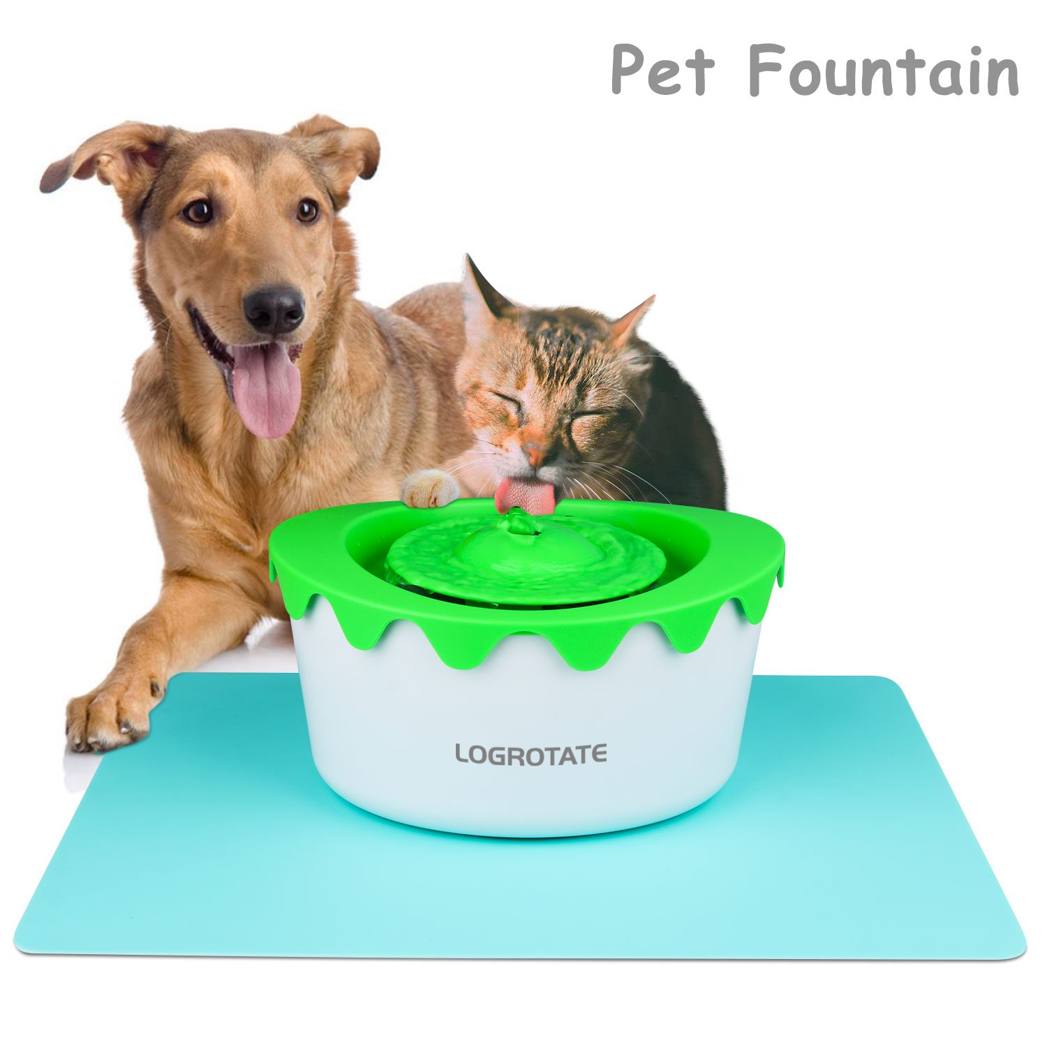 LOGROTATE Pet Fountain Automatic 1.8L Drinking Water Fountain Healthy Hygienic Cat Fountain Dispenser Dog Fountain with Charcoal Filter & Super Silent for Cat Small Dog and Animals