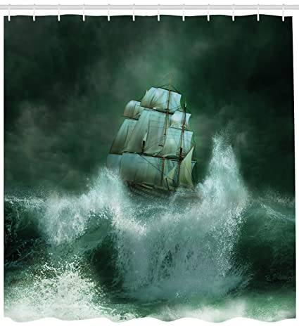 Ambesonne Pirate Ship Shower Curtain Old In Thunderstorm Digital Artwork Fantasy Adventure Fabric
