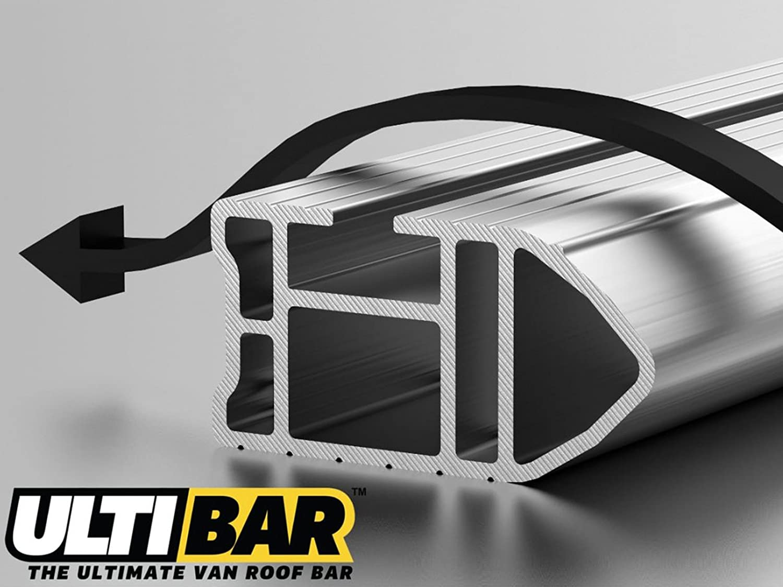 2006 on Van Guard Ulti Bar 5 Aluminium Roof Bars and 4 Load Stops for Toyota Hiace
