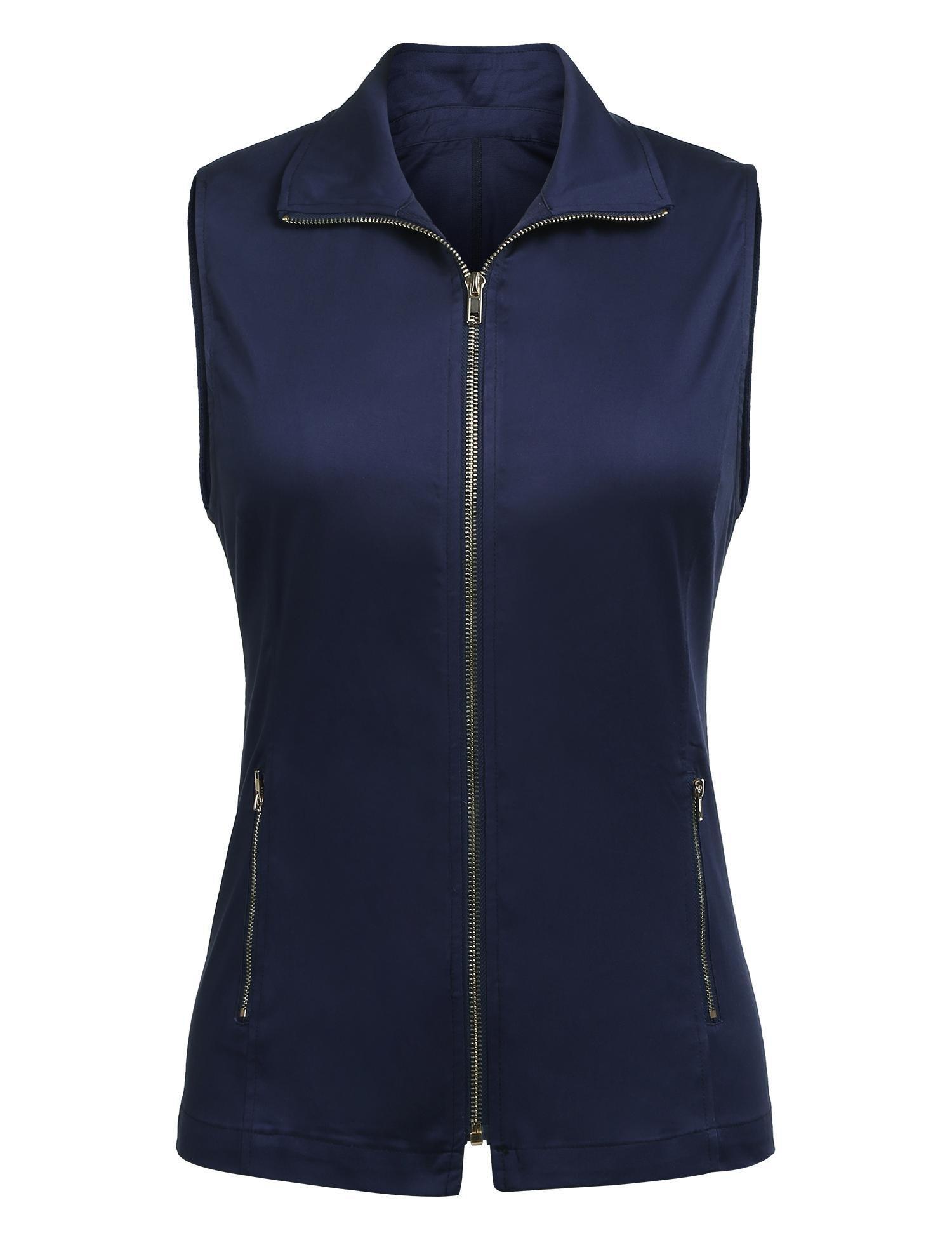 Dealwell Women Outdoor Lightweight Sleeveless Zip Up Turn Down Vest Jacket Outerwear (Navy L) by Dealwell