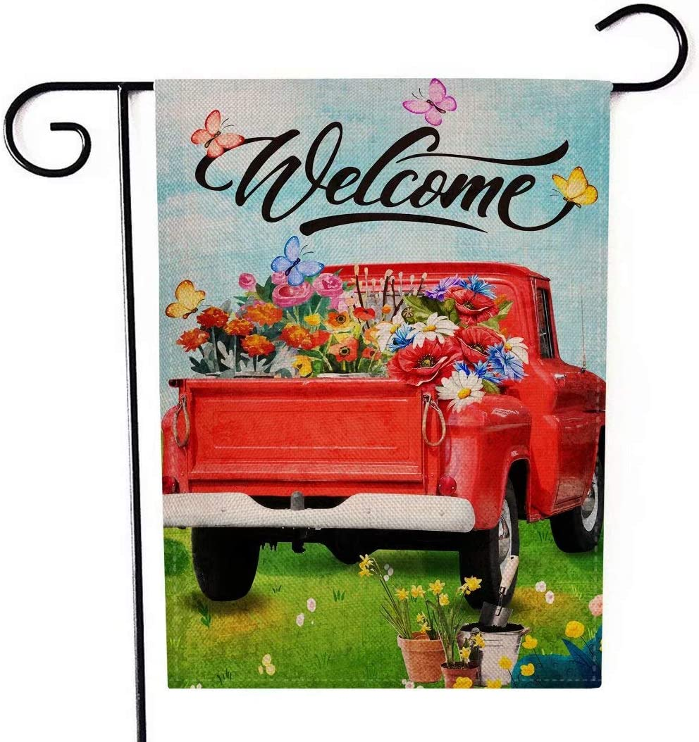 Henriyne Garden Flag Welcome Flower Red Truck Vertical Double Sided Yard Flag for Summer SpringOutdoor Yard Front Door Decorative Rustic Farmhouse Decor 12.5x18 Inches