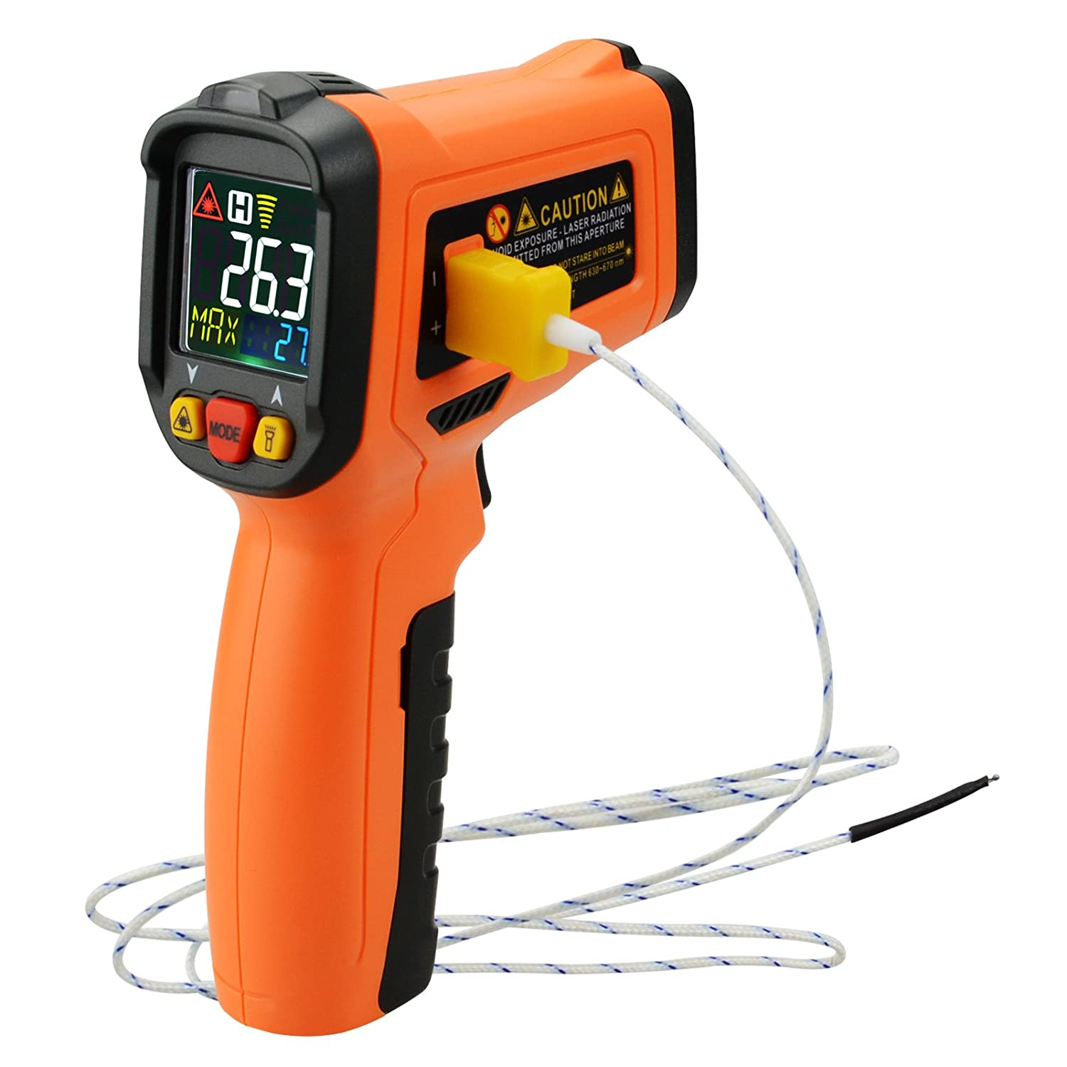 Non Contact Infrared Thermometer w/ K-Type Thermocouple & UV Light Leak Detection, Color Digital 0.5s Instant Read Hand Held Laser IR Temp Meter, for Adults/Cooking/Automotive/Industrial/Lab, -50~800° C(-58~1472° F) -50~800°C(-58~1472°F) THE-222