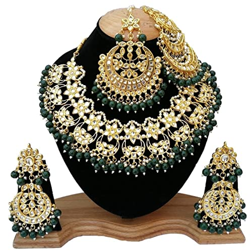 1eeb5aeda62 Buy Gemsjewellery Green Gold Plated Kundan Pasa Bridal Pearl Necklace with Earrings  and Mang Tika Jewellery Set for Women Online at Low Prices in India ...