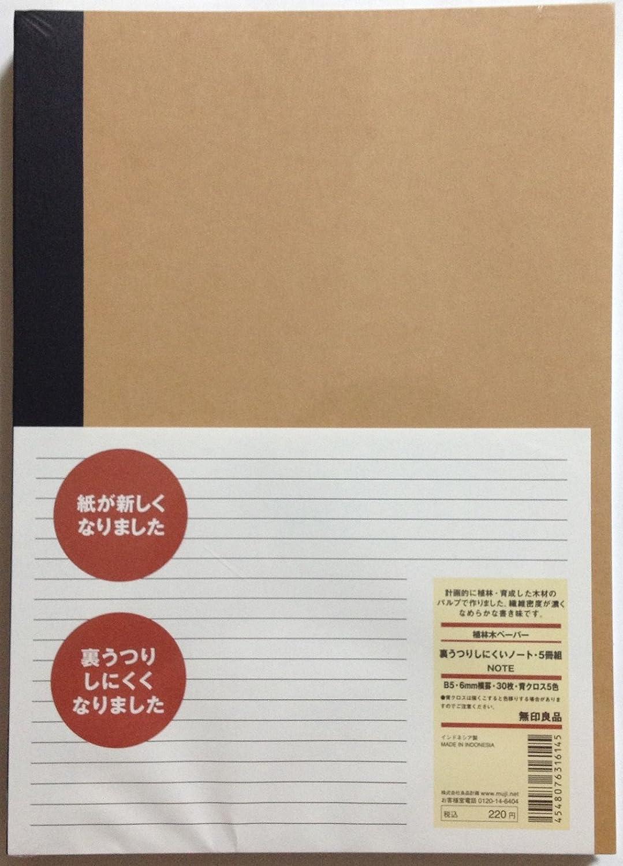 MUJI Notebook B5 6mm Rule 30sheets - Pack of 5books [5colors Binding]