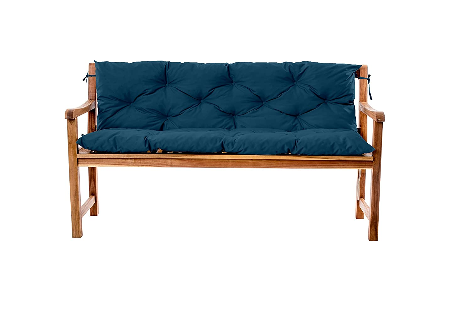 Gardenista Water Resistant Outdoor Garden 3 Seater Bench Backrest Cushion (Moroccan Blue), L150cm x D50cm x H50cm Approximate. Made in the UK. Tufted Cushions Collection