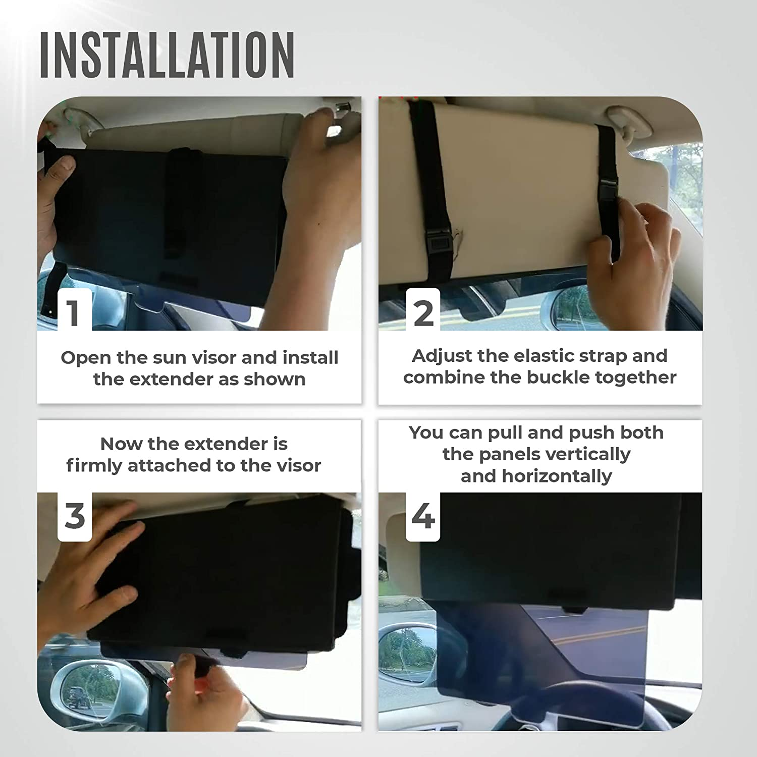 One Pull Down Sunshade See Through glasss Universal fit for All Cars One Side Sunshade Sun Block Piece Protects from UV Rays EcoNour Polarized Car Sun Visor Extender Snow Blindness