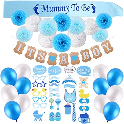 VEYLIN 52 Pieces Boy Baby Shower Decoration Kit - IT'S A BOY Banner, Blue Mummy to Be Sash, Baby Photo Booth Props, Tissue Paper Pompoms Flowers and Balloons (Blue)