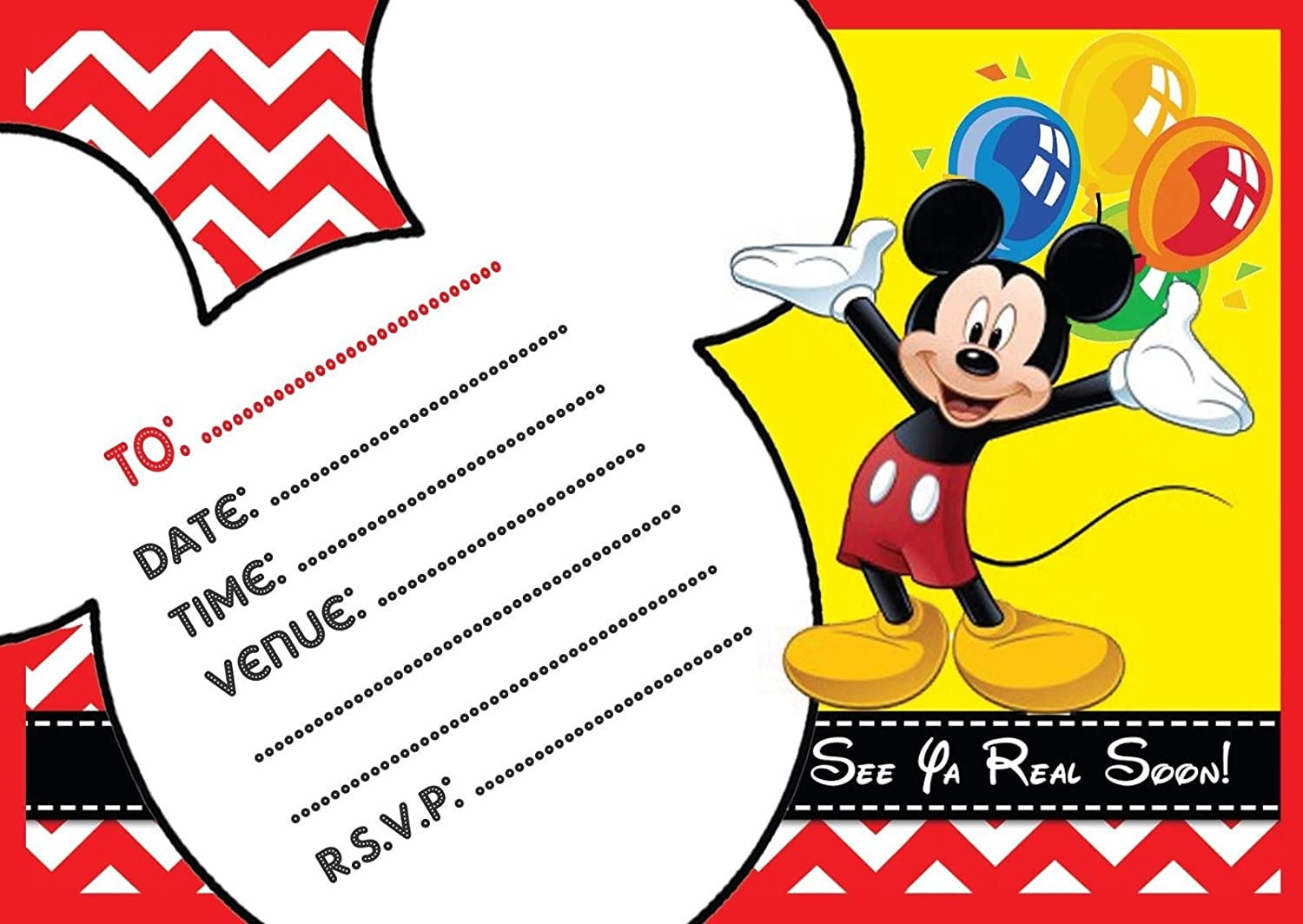 MICKEY MOUSE CHILDRENS BIRTHDAY PARTY INVITES INVITATIONS X 10 PACK EBS