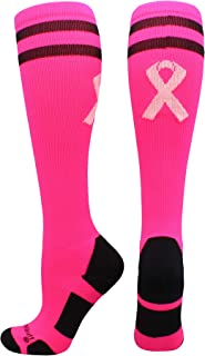 product image for MadSportsStuff Pink Ribbon Breast Cancer Awareness Socks with Stripes