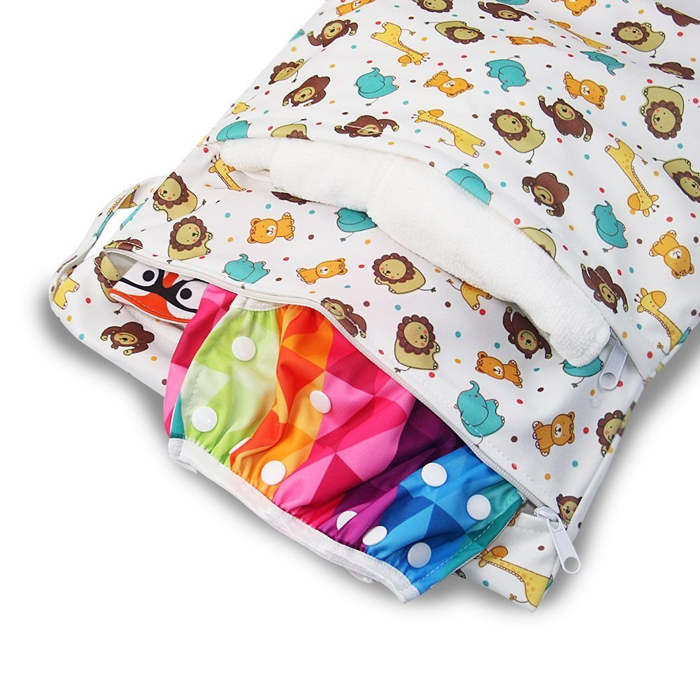 Owl iZiv TM Baby Waterproof Reusable Wet and Dry Baby Diaper Bag Organizer Pouch Double Zipper Printing Diaper Bag