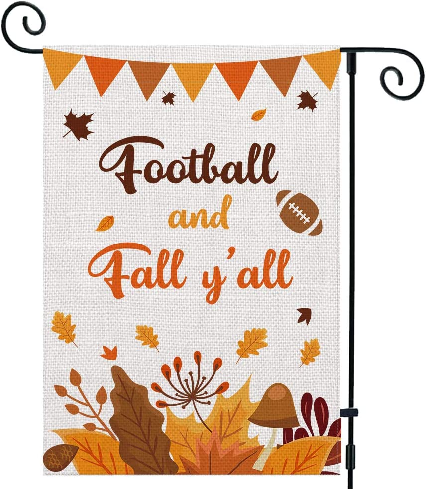 UPINLOOK Football and Fall Y'all Small Garden Flag Vertical Double Sided, Burlap Fall Garden Flag Autumn Leaves Yard Outdoor Decor 12.5 x 18 Inch