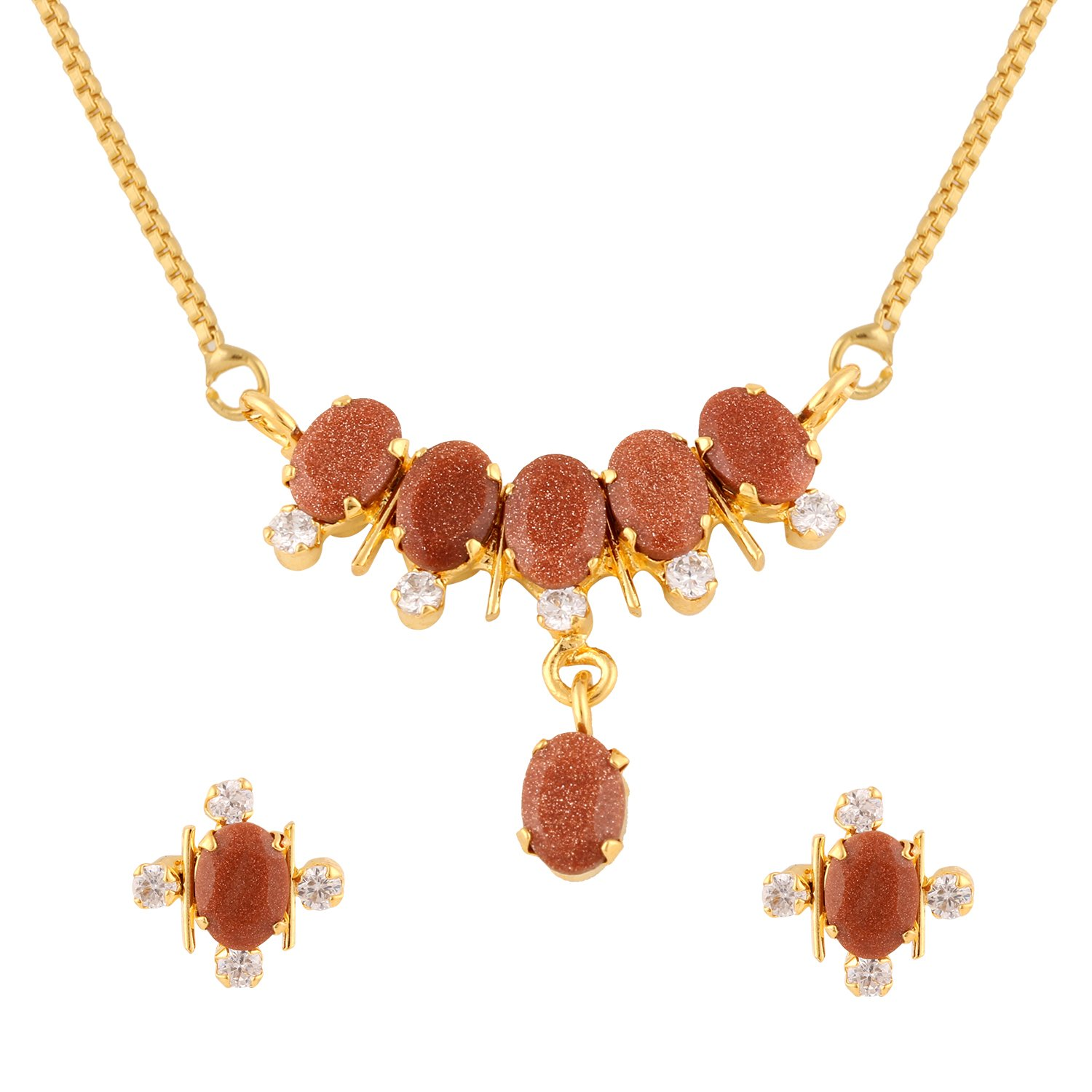 Efulgenz Gold Tone Indian Bollywood Ethnic Brown Traditional Pendant Necklace with Chain and Earrings Jewelry for Women