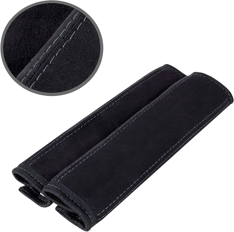 Color Negro L/&P Car Design GmbH 2 Protectores de cintur/ón de Seguridad Acolchados de Microfibra Suave para los Hombros