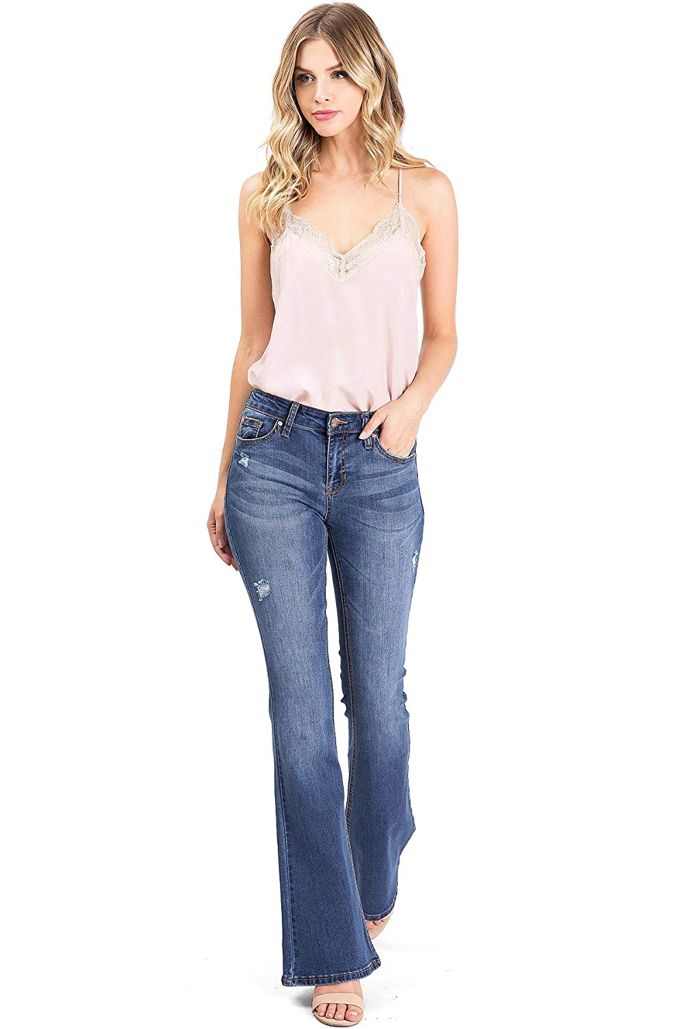 Celebrity Pink Womens Juniors High Waisted Flared Bell Bottom Jeans
