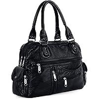 UTO Women Handbag PU Leather 3 Front Zipper Washed Shoulder Bag Black