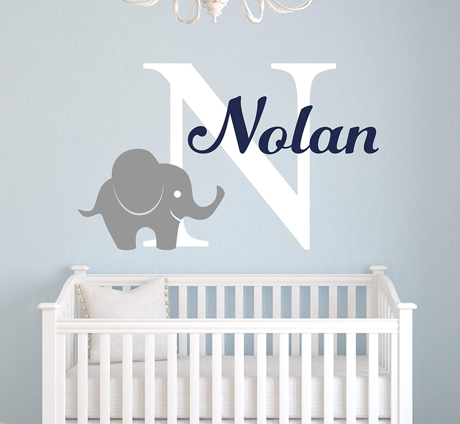 Name Elephant Wall Decal - Custom Elephant Wall Decal - Baby Nursery Decor Personalized Vinyl Art Mural Sticker