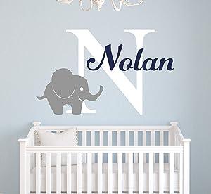 Name Elephant Wall Decal - Custom Elephant Wall Decal - Baby Nursery Decor Personalized Vinyl Art Mural Sticker