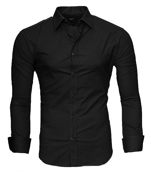 3a8505600c6f Kayhan Originale Uomo Camicia Slim Fit Facile Stiro Cotone Maniche Lungo S  M L XL XXL 2XL -Modello Uni: Amazon.it: Abbigliamento