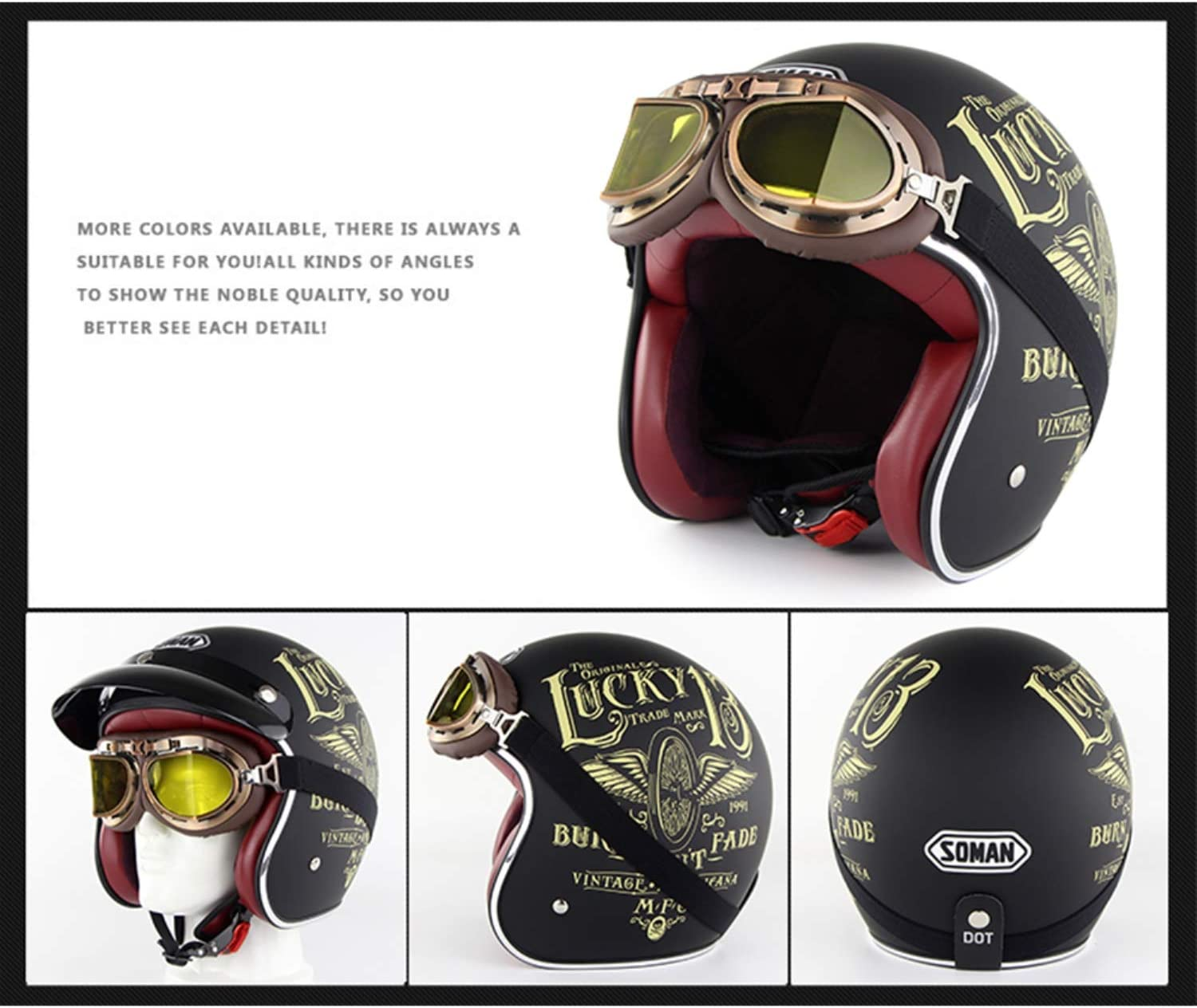Send Goggles ,1,M Evin 3//4 Jethelm Retro Harley Motorrad Jethelm DOT Approved Men and Women