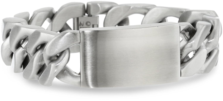 Men's Stainless Steel Wide Identification Bracelet, 9.5