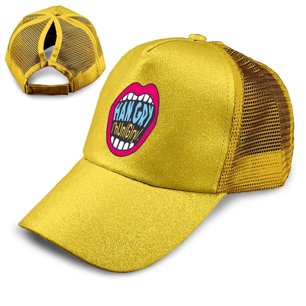 Summer Han.Gry Print Celebrity Ages Ponytail Messy High Bun Hat Ponycaps Baseball Cap Adjustable Trucker Cap Mesh Cap
