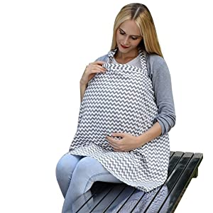Breastfeeding Nursing Cover, Multi-Use Wide Nursing Cover with Storage Pockets, 100% Breathable Cotton Nursing Cover for Breastfeeding Infants (Grey)