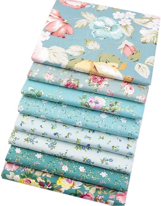 8 piezas de tela de algodón verde, tela de cuartos finos, tela ...