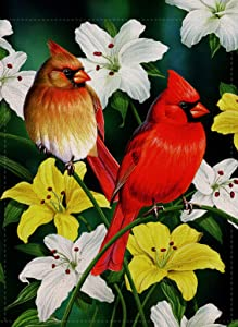 Furiaz Decorative Cardinal Flower Small Garden Flag Birds Double Sided, Home Floral Lily Burlap Birds Outside House Yard Decoration, Seasonal Outdoor Décor Flag 12.5 x 18 Spring Summer
