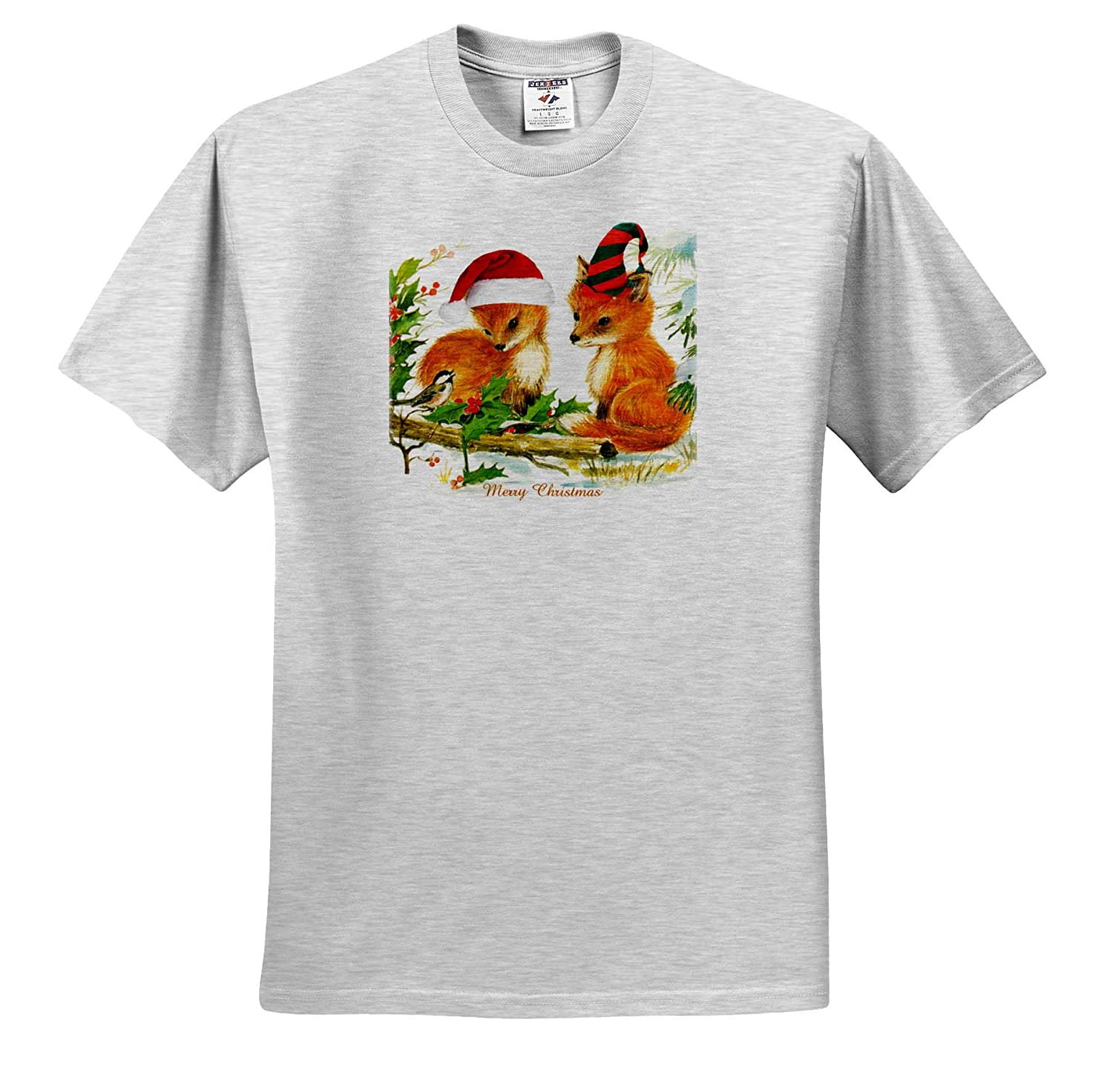 T-Shirts Red Fox Christmas 3dRose Cassie Peters Christmas
