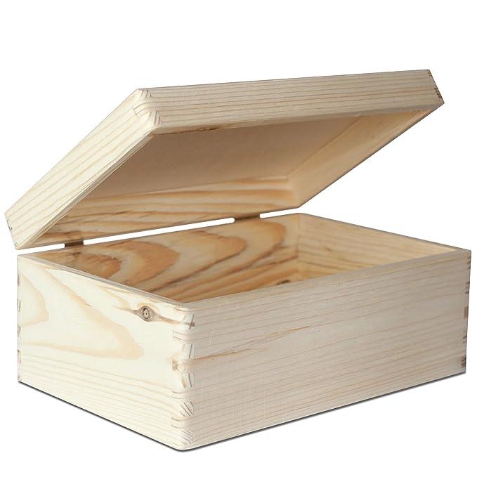 Creative Deco Grande Caja Madera para Decorar con Tapa | 30 x 20 x 14 cm | Decoracion Almacenaje Herramiente Fruta Decoupage Documentos Objetos de Valor ...