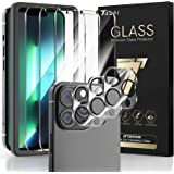 TAURI 3 + 3 Pack Compatible with iPhone 13 Pro 6.1 Inch, 3 Pack Tempered Glass Screen Protector, 3 Pack Camera Lens Protector