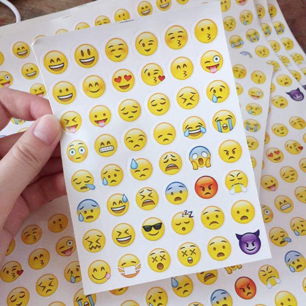 CHIGANT 4 Hojas / Set niños Divertidos Dibujos Animados Emoji Pegatinas Álbumes y Pegatinas Kemanner