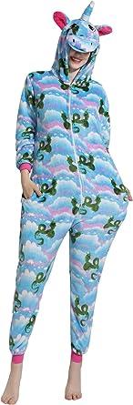 Hycomell Unicornio Pijamas de una Pieza para Unisexo Adulto ...