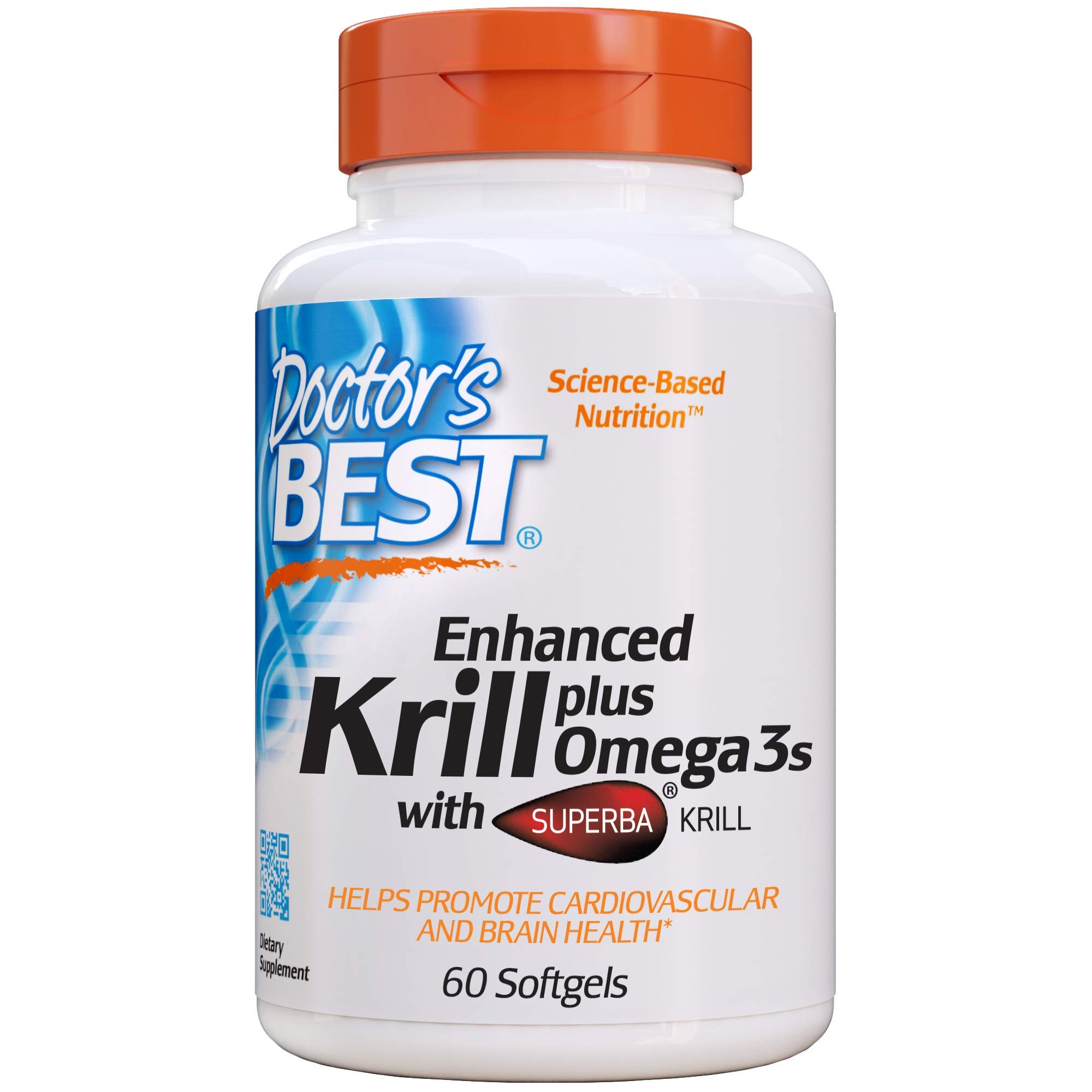 Doctor's Best Enhanced Krill Plus Omega 3s with SUPERBA Krill, 60 Softgels by Doctor's Best