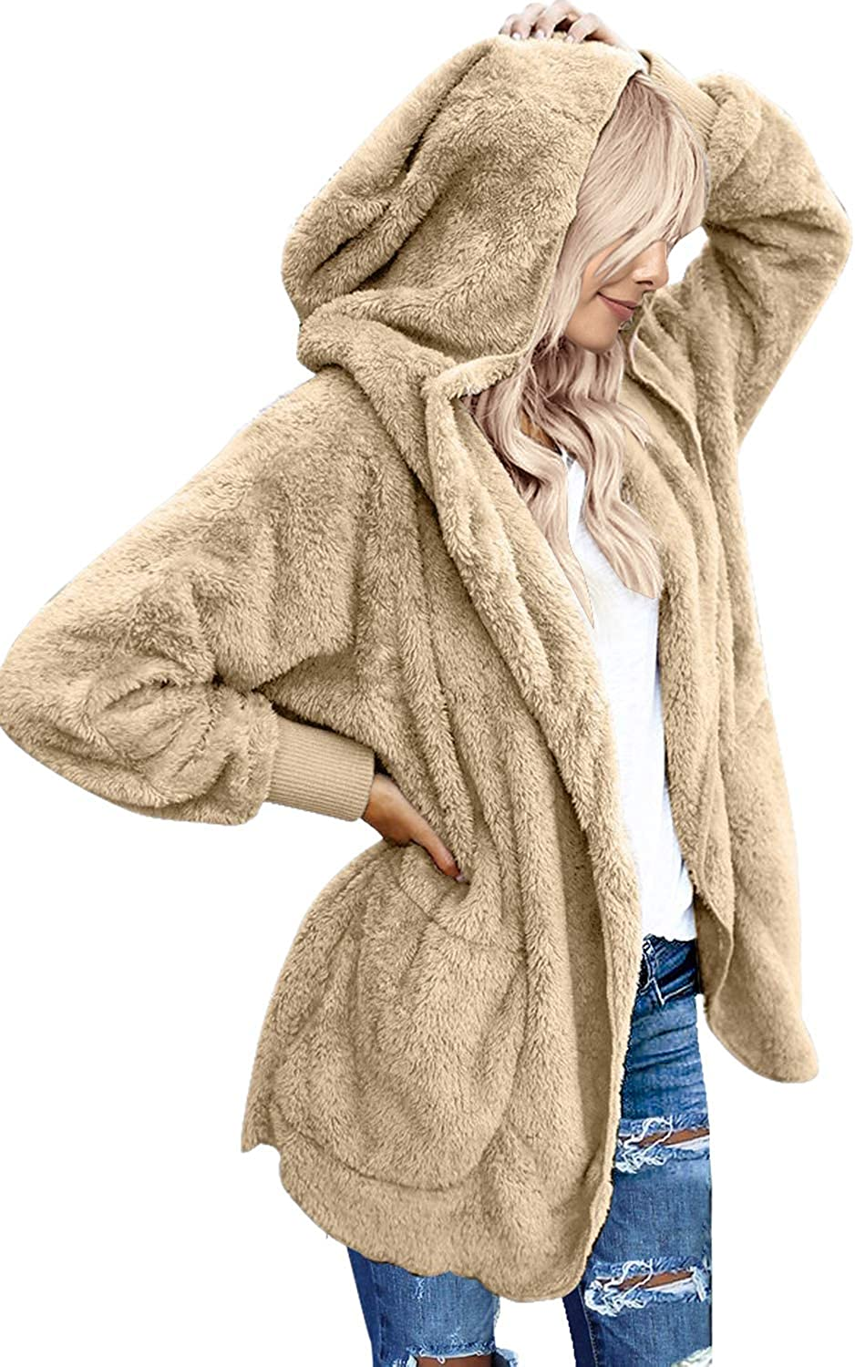 LookbookStore Women's Oversized Open Front Hooded Draped Pockets Cardigan Coat
