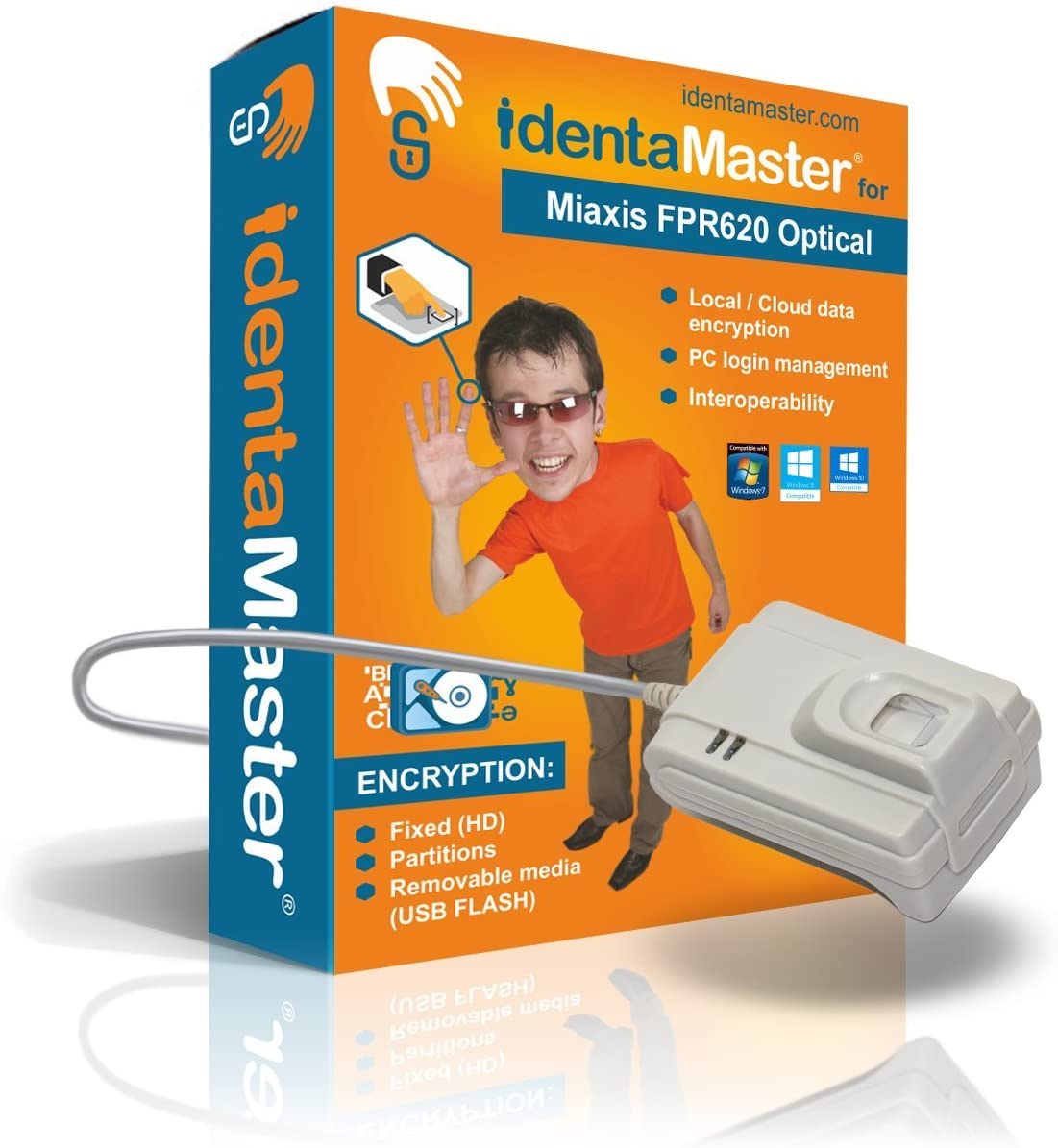 IdentaMaster Biometric Security Software with Miaxis FPR620 Optical Fingerprint Reader Encryption PC Login for Windows 7//8//10