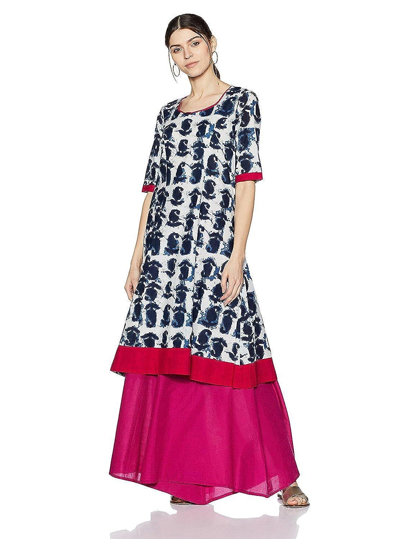 Leda Indian Women Designer Indigo Cotton Printed Kurta Kurti