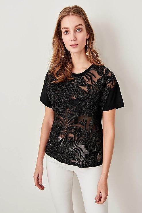LFMDSY Camisa de Las Mujeres Elegancia Casual Transparente Negro Devore Tejido de Tela Tops TWOSS19FV0129: Amazon.es: Deportes y aire libre