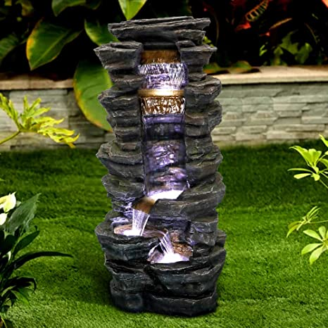 Peterivan Rockery Shower Outdoor Fountain 40 H Showering Outdoor Fountain With Led Light Stone Liking Natural Looking Resin Garden Fountains Outdoor For Patio Garden House Office Kitchen Dining