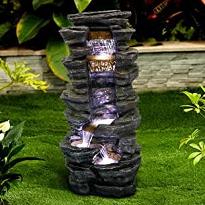 """PeterIvan Rockery Shower Outdoor Fountain - 40"""" H Showering Outdoor Fountain with LED Light, Stone-Liking Natural Looking Resin Waterfall Fountain for Patio, Garden, House&Office"""