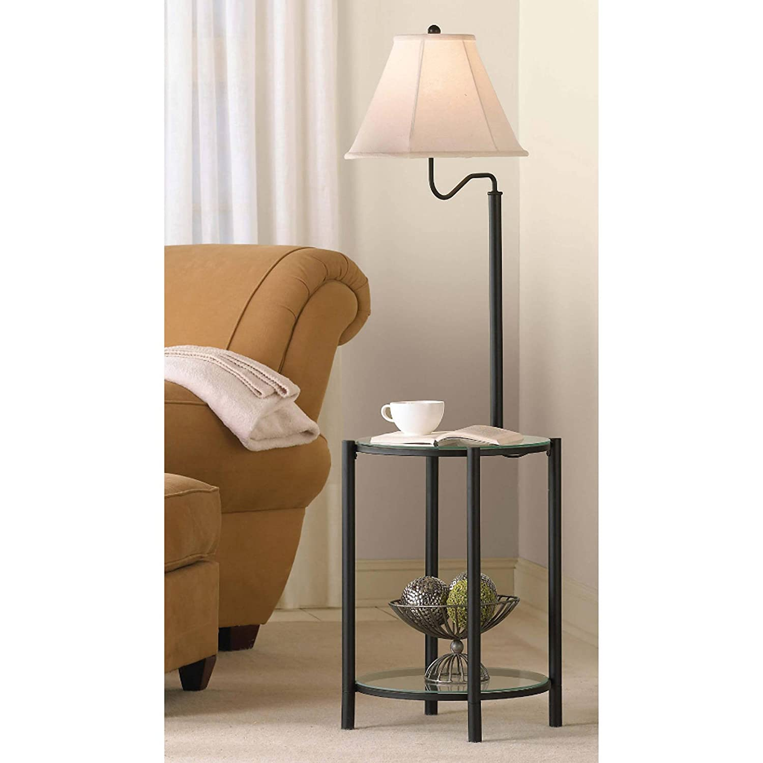 Floor Lamp With Glass End Table In Matte Black, CFL Bulb Included